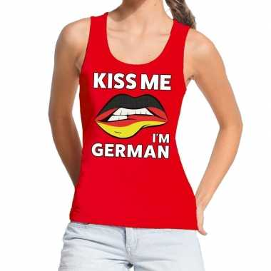 Goedkope kiss me i am german tanktop / mouwloos shirt rood dames