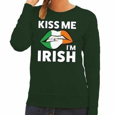 Goedkope kiss me i am irish sweater groen dames