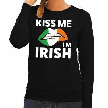 Goedkope kiss me i am irish sweater zwart dames