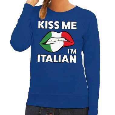 Goedkope kiss me i am italian sweater blauw dames