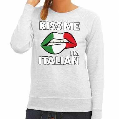Goedkope kiss me i am italian sweater grijs dames