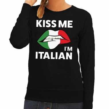 Goedkope kiss me i am italian sweater zwart dames