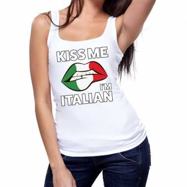 Goedkope kiss me i am italian tanktop / mouwloos shirt wit dames