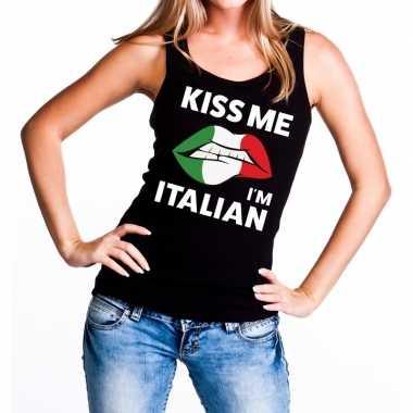 Goedkope kiss me i am italian tanktop / mouwloos shirt zwart dames