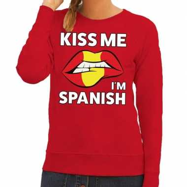 Goedkope kiss me i am spanish sweater rood dames