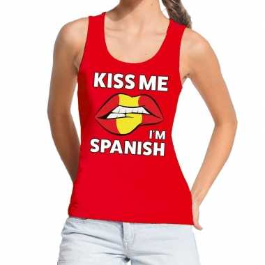 Goedkope kiss me i am spanish tanktop / mouwloos shirt rood dames