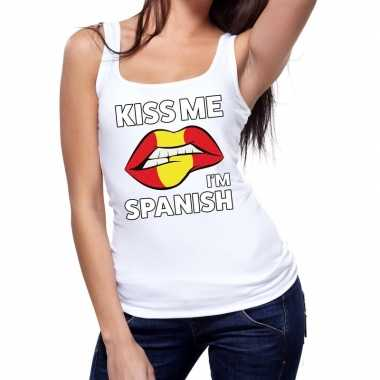 Goedkope kiss me i am spanish tanktop / mouwloos shirt wit dames