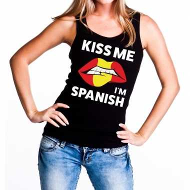 Goedkope kiss me i am spanish tanktop / mouwloos shirt zwart dames