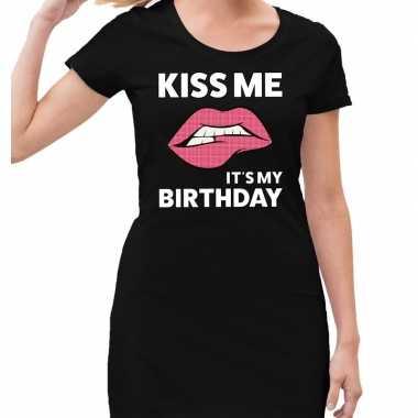 Goedkope kiss me it is my birthday jurkje zwart dames