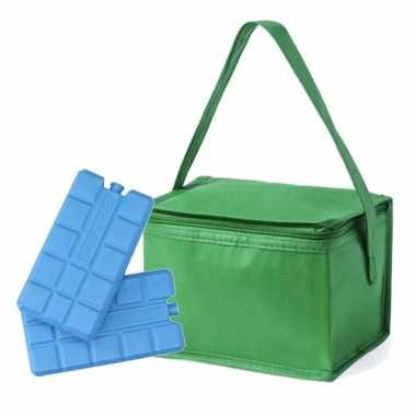Goedkope kleine koeltas groen blikjes inclusief koelelementen