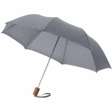 Goedkope kleine opvouwbare paraplu grijs