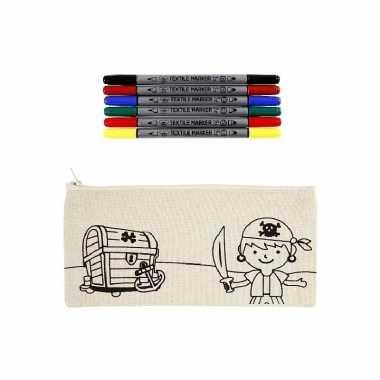 Goedkope kleurset etui piraat textielstiften