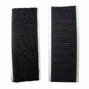 Goedkope klittenband zelfklevend zwart meter
