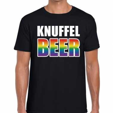 Goedkope knuffel beer gaypride shirt zwart heren