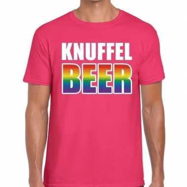 Goedkope knuffel beer gaypride t shirt roze heren