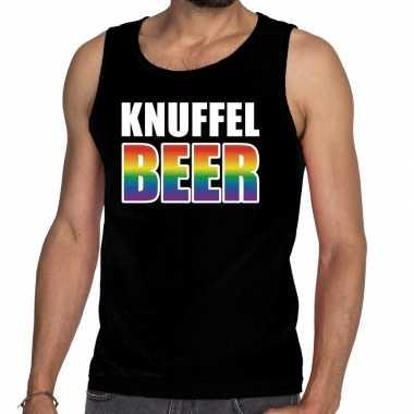Goedkope knuffel beer tanktop/mouwloos shirt zwart heren