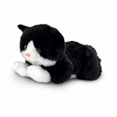Goedkope knuffel pluche poes/kat zwart/ wit