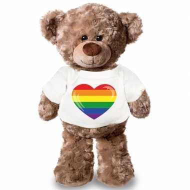 Goedkope knuffel teddybeer gaypride vlag hart t shirt