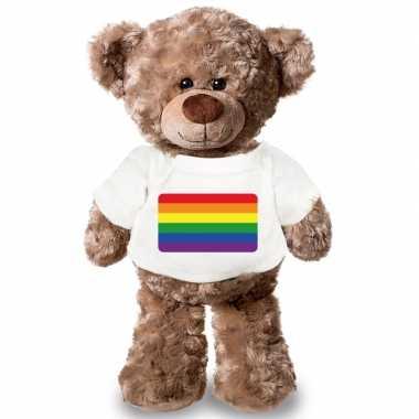 Goedkope knuffel teddybeer gaypride vlag t shirt