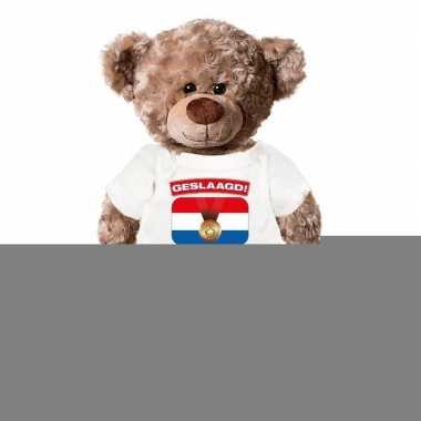 Goedkope knuffel teddybeer geslaagd! wit shirt