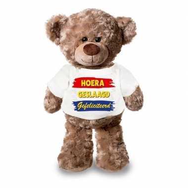 Goedkope knuffel teddybeer hoera geslaagd gefeliciteerd wit shirt