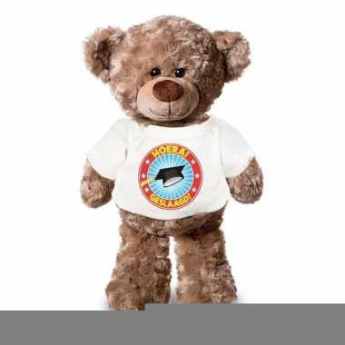 Goedkope knuffel teddybeer hoera geslaagd wit shirt