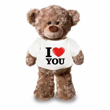 Goedkope knuffel teddybeer i love you shirt