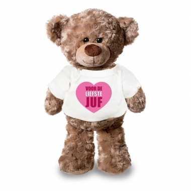 Goedkope knuffel teddybeer liefste juf wit shirt