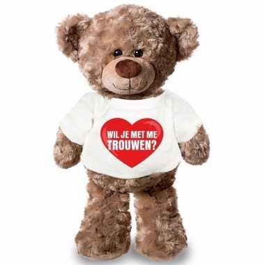 Goedkope knuffel teddybeer wil je me trouwen hart shirt