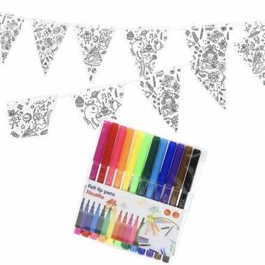 Goedkope knutsel papieren vlaggenlijn om te kleuren m incl. stiften