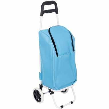 Goedkope koeltas boodschappentrolley blauw liter