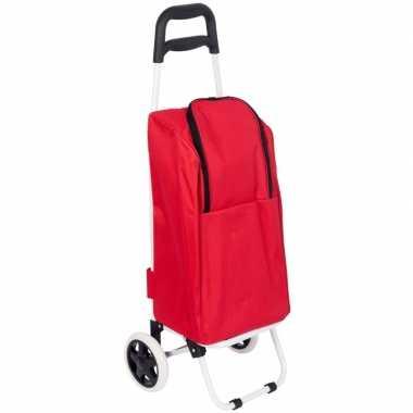 Goedkope koeltas boodschappentrolley rood liter