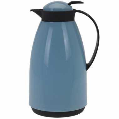 Goedkope koffiekan/isoleerkan liter blauw