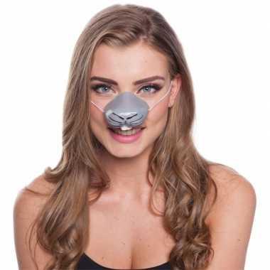 Goedkope konijn dierenneus masker volwassenen