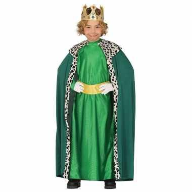 Goedkope koning mantel groen verkleedkostuum kinderen