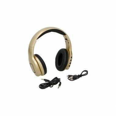 Goedkope koptelefoon/hoofdtelefoon stereo goudkleur draadloos bluetoo