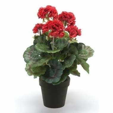 Goedkope kunstplant geranium rood zwarte pot
