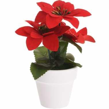 Goedkope kunstplant poinsettia rood pot