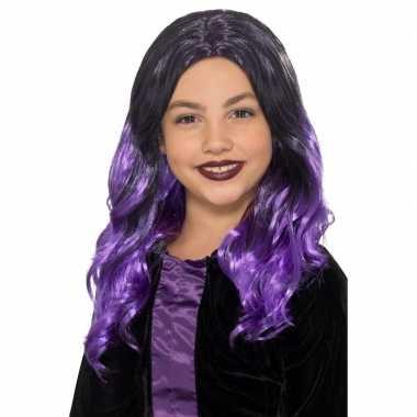 Goedkope lange zwart paarse meisjespruik krullen
