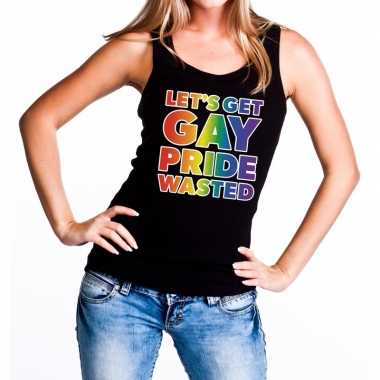 Goedkope lets get gay pride wasted regenboog gay pride tanktop zwart