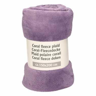 Goedkope licht aubergine fleece deken