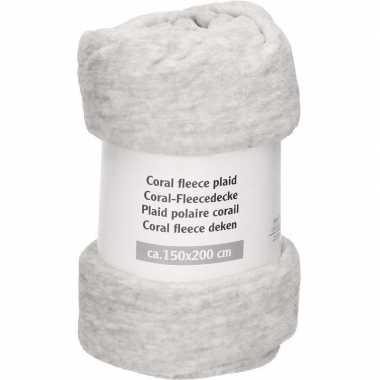 Goedkope licht grijs gemeleerde fleece deken
