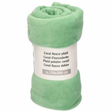 Goedkope licht zeegroene fleece deken