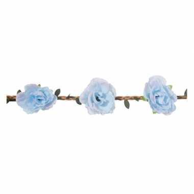 Goedkope lichtblauwe rozen festival/hippie haarband dames
