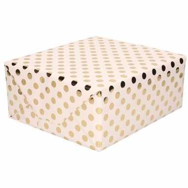 Goedkope lichtroze folie inpakpapier/cadeaupapier gouden stip
