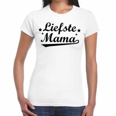 Goedkope liefste mama cadeau t shirt wit dames