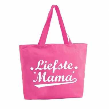 Goedkope liefste mama shopper tas fuchsia roze