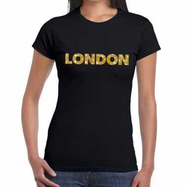 Goedkope london goud glitter tekst t shirt zwart dames