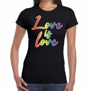 Goedkope love is love gay pride t shirt zwart dames