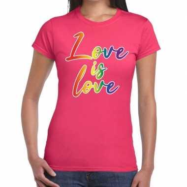 Goedkope love is love gaypride t shirt roze dames